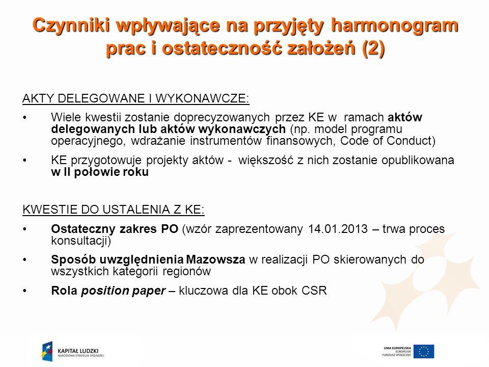 Czynniki wpływające na przyjęty harmonogram prac i ostateczność założeń (2)