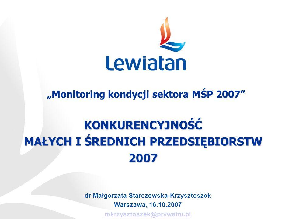 KONKURENCYJNOŚĆ MAŁYCH I ŚREDNICH PRZEDSIĘBIORSTW 2007