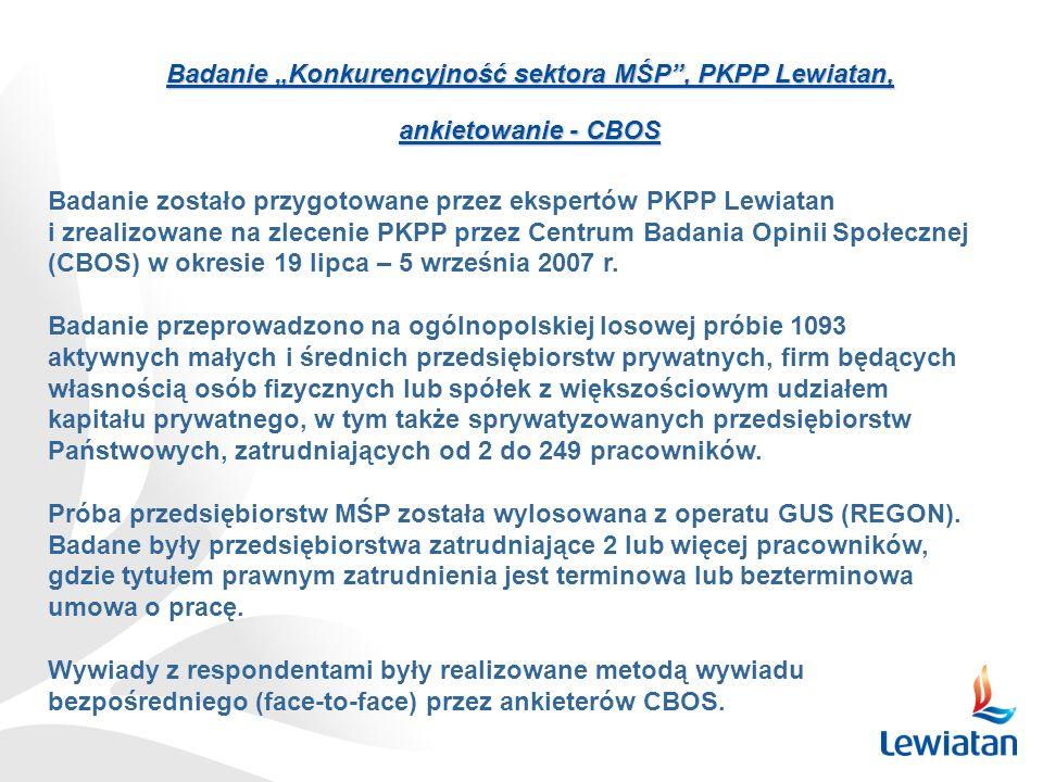 """Badanie """"Konkurencyjność sektora MŚP , PKPP Lewiatan,"""