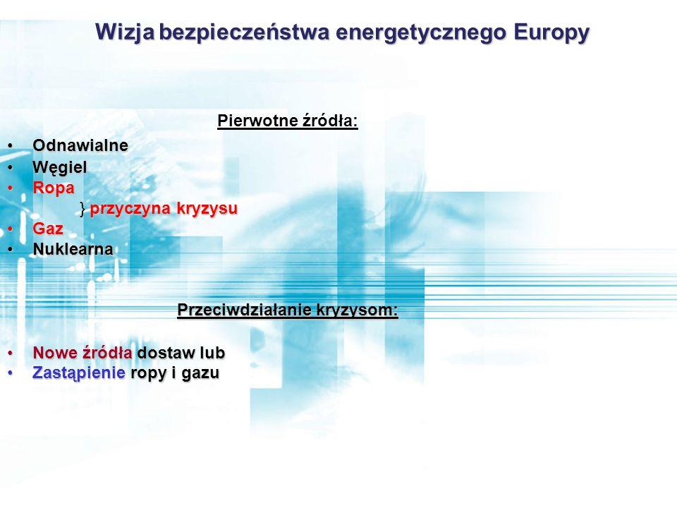 Wizja bezpieczeństwa energetycznego Europy Przeciwdziałanie kryzysom: