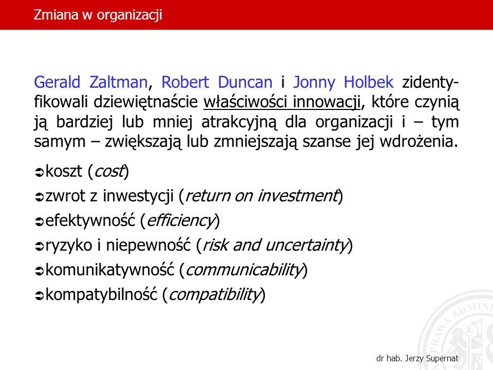 zwrot z inwestycji (return on investment) efektywność (efficiency)