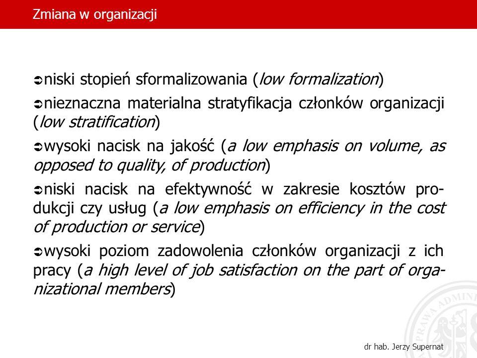 niski stopień sformalizowania (low formalization)