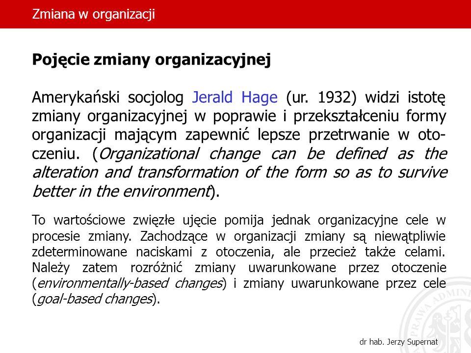 Zmiana w organizacji Pojęcie zmiany organizacyjnej.