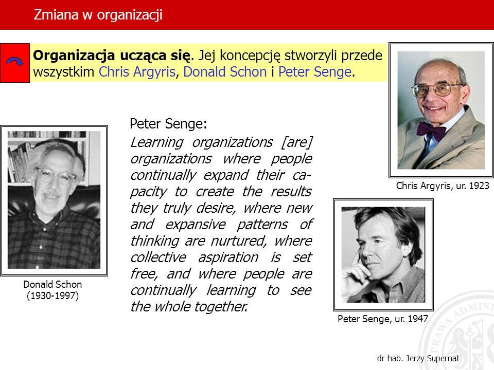 Zmiana w organizacji Organizacja ucząca się. Jej koncepcję stworzyli przede wszystkim Chris Argyris, Donald Schon i Peter Senge.
