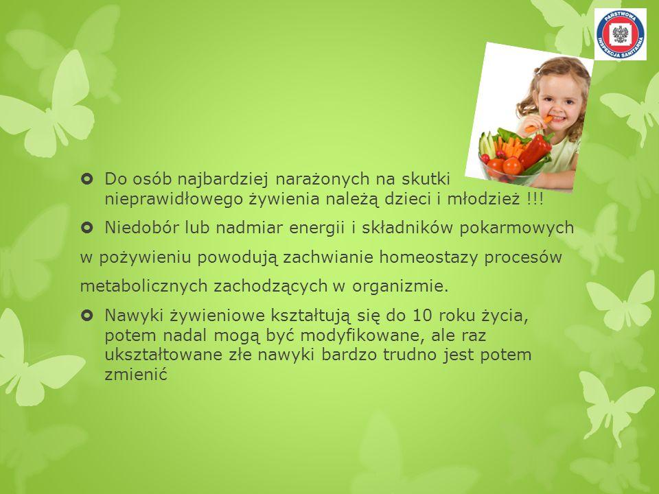 Do osób najbardziej narażonych na skutki nieprawidłowego żywienia należą dzieci i młodzież !!!