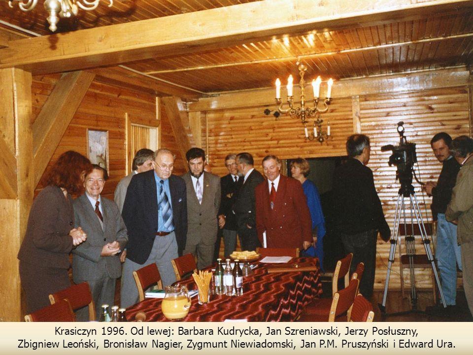 Krasiczyn 1996. Od lewej: Barbara Kudrycka, Jan Szreniawski, Jerzy Posłuszny,