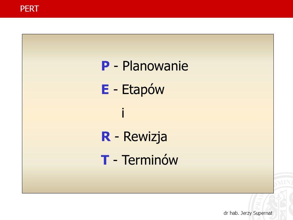 P - Planowanie E - Etapów i R - Rewizja T - Terminów PERT