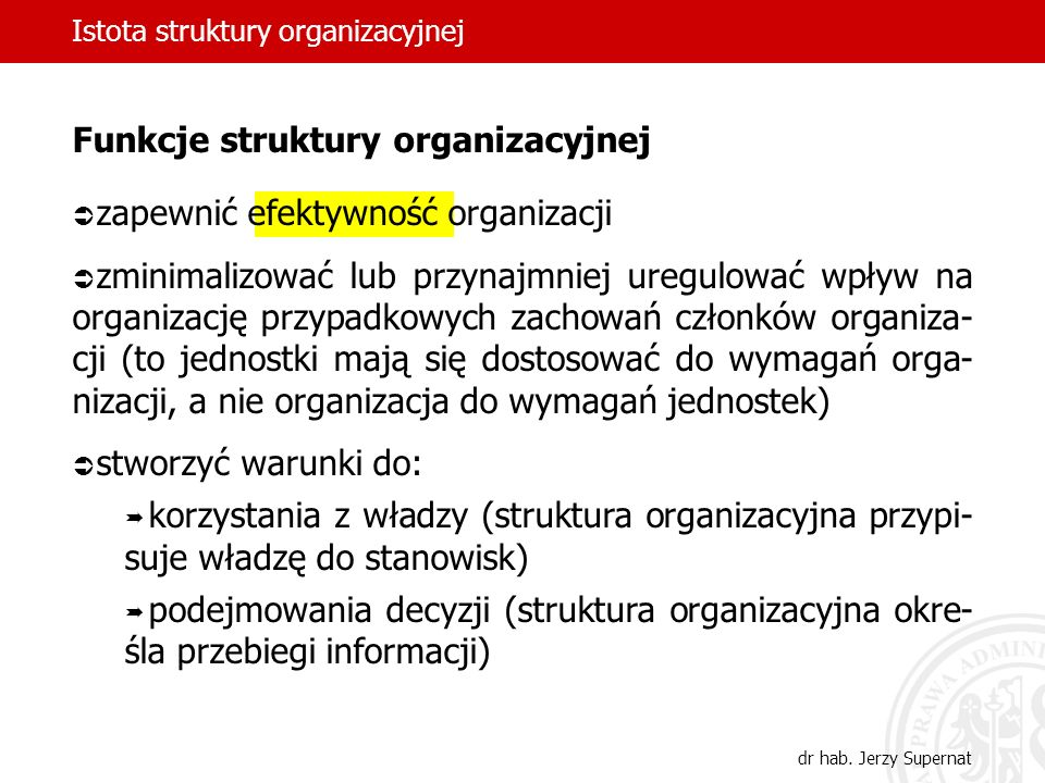 Istota struktury organizacyjnej