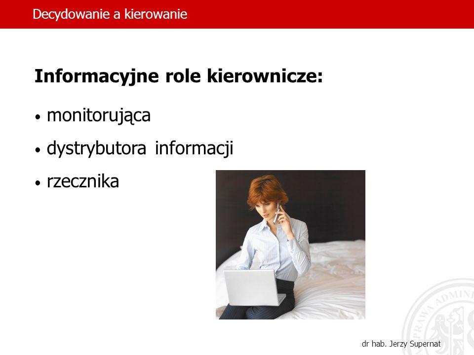 Informacyjne role kierownicze: monitorująca dystrybutora informacji