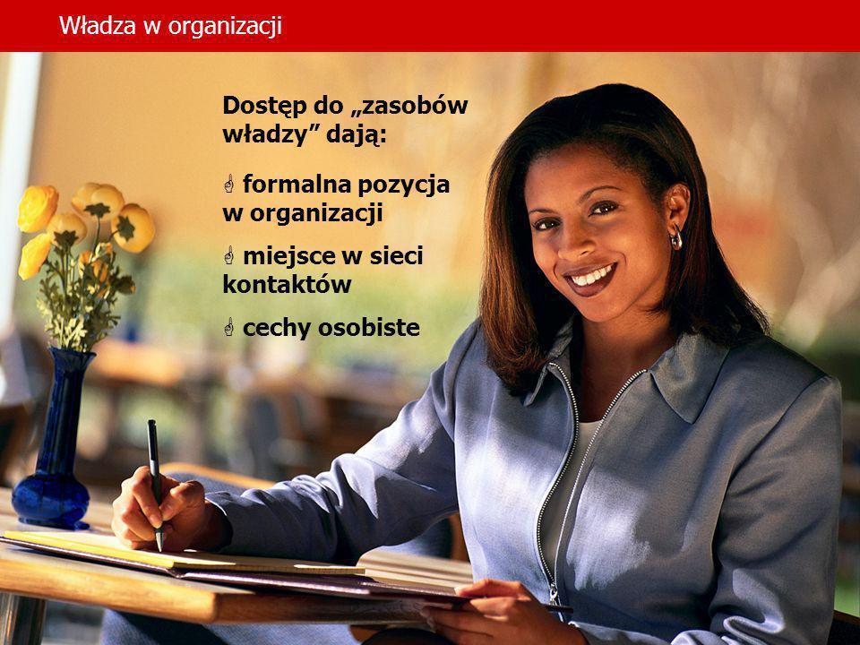 """Władza w organizacjiDostęp do """"zasobów władzy dają: formalna pozycja. w organizacji. miejsce w sieci kontaktów."""