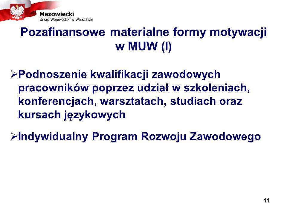 Pozafinansowe materialne formy motywacji w MUW (I)