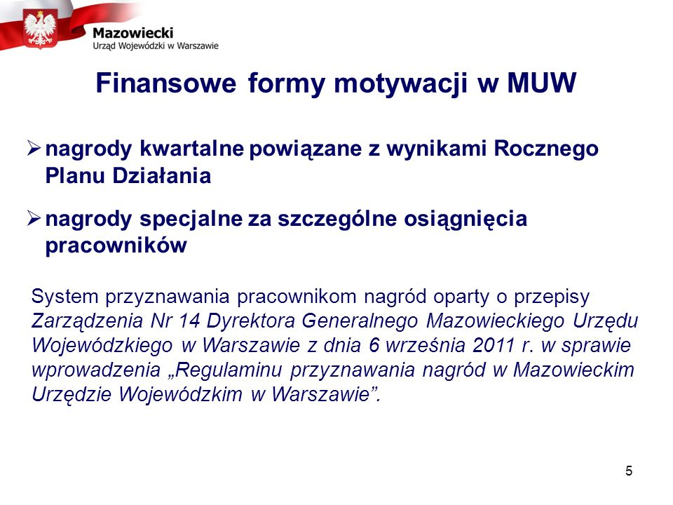 Finansowe formy motywacji w MUW