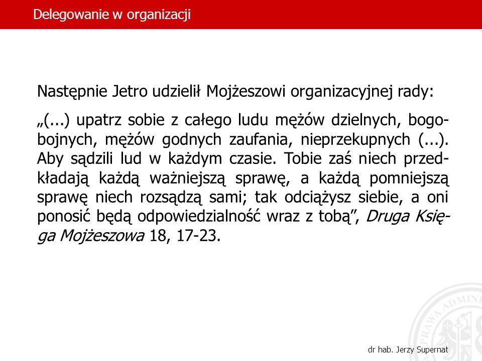Następnie Jetro udzielił Mojżeszowi organizacyjnej rady: