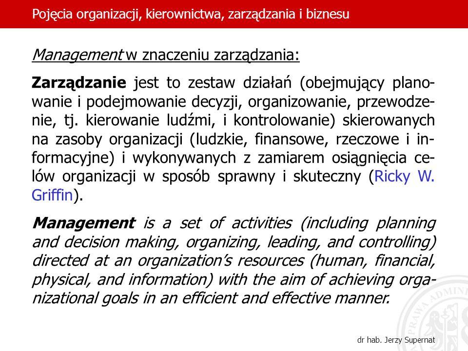 Management w znaczeniu zarządzania: