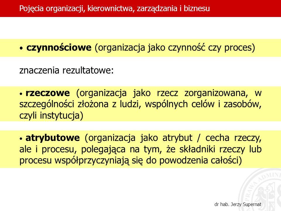 czynnościowe (organizacja jako czynność czy proces)
