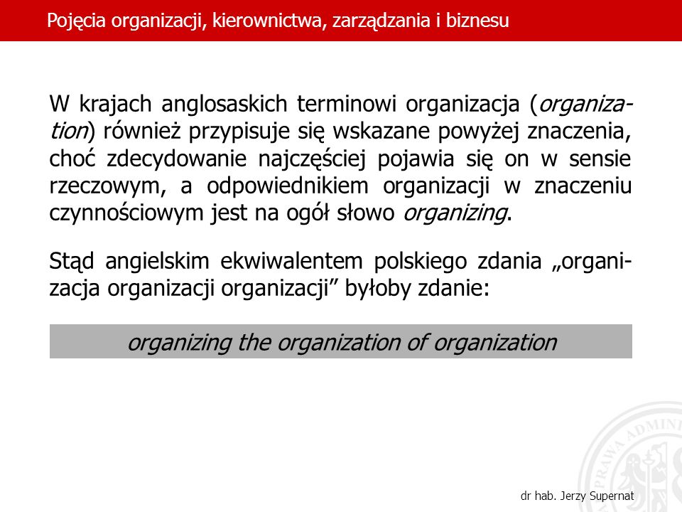 organizing the organization of organization