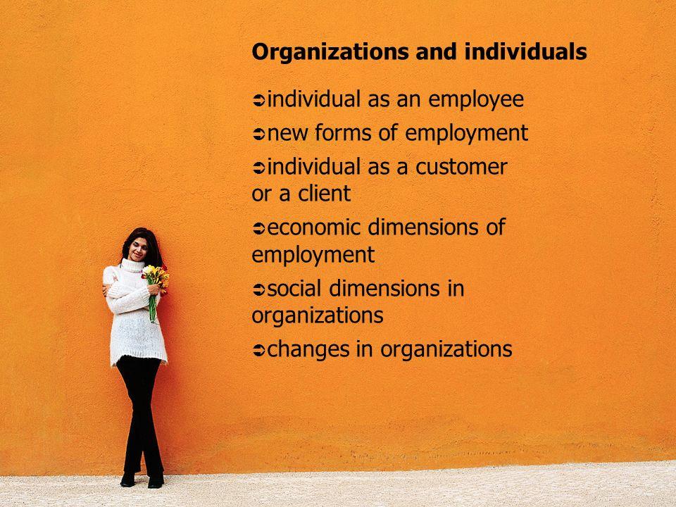 Organizations and individuals