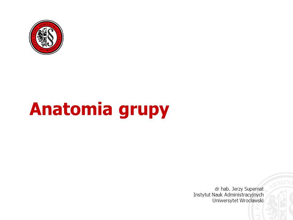 Anatomia grupy dr hab. Jerzy Supernat Instytut Nauk Administracyjnych Uniwersytet Wrocławski