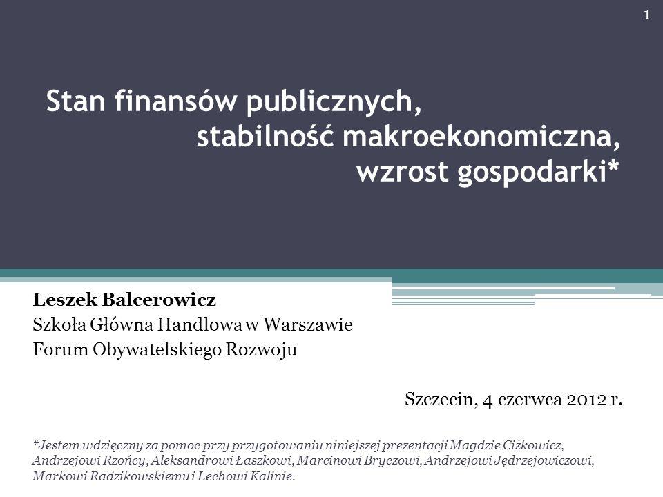 Stan finansów publicznych, stabilność makroekonomiczna, wzrost gospodarki*
