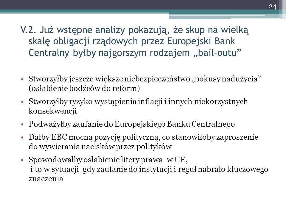 """V.2. Już wstępne analizy pokazują, że skup na wielką skalę obligacji rządowych przez Europejski Bank Centralny byłby najgorszym rodzajem """"bail-outu"""