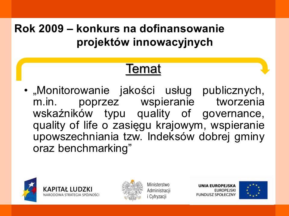 Rok 2009 – konkurs na dofinansowanie projektów innowacyjnych