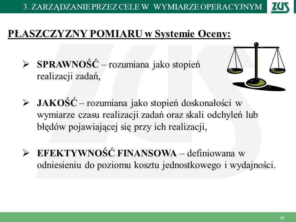 PŁASZCZYZNY POMIARU w Systemie Oceny: