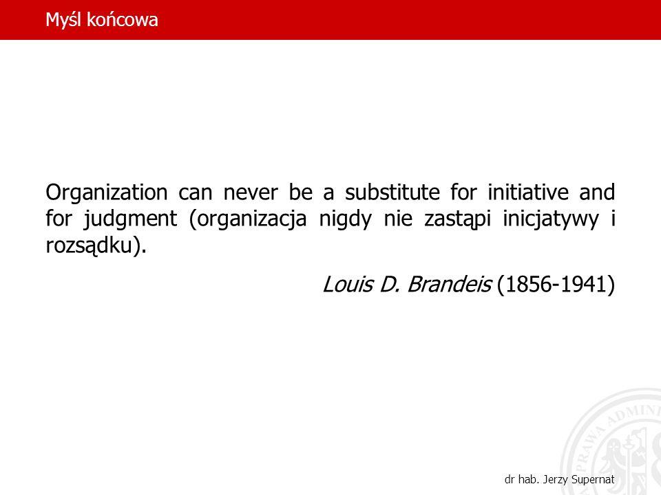Myśl końcowa Organization can never be a substitute for initiative and for judgment (organizacja nigdy nie zastąpi inicjatywy i rozsądku).