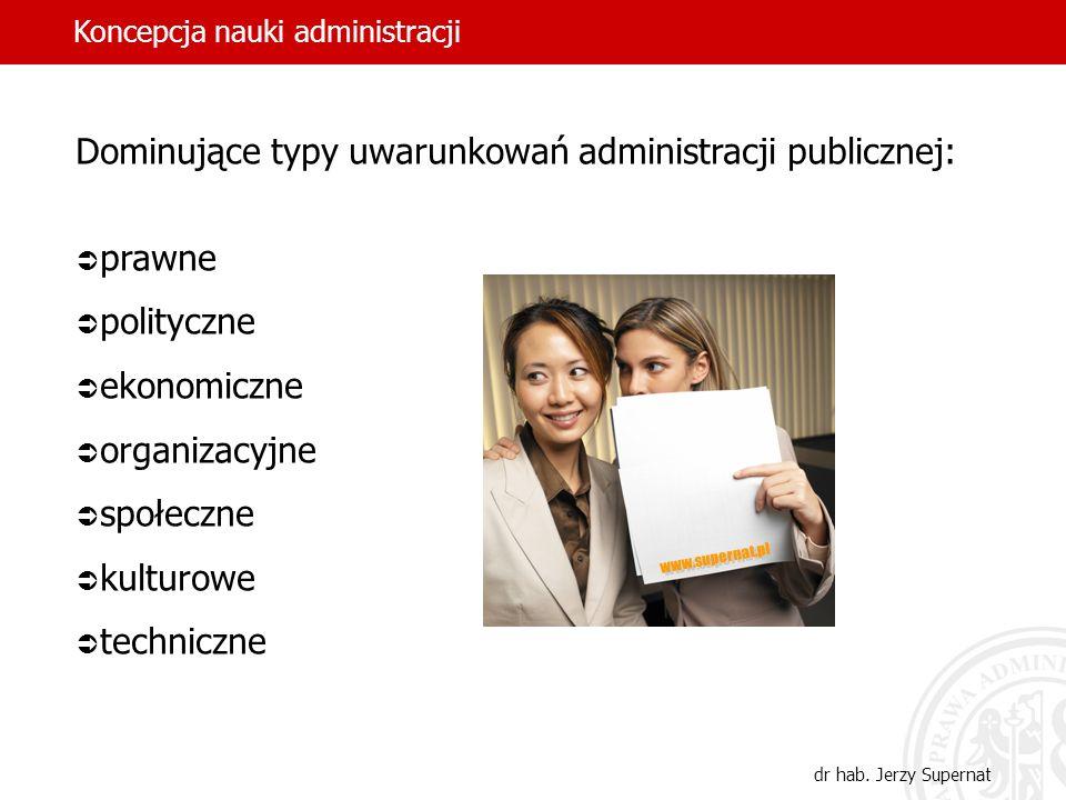 Dominujące typy uwarunkowań administracji publicznej: prawne