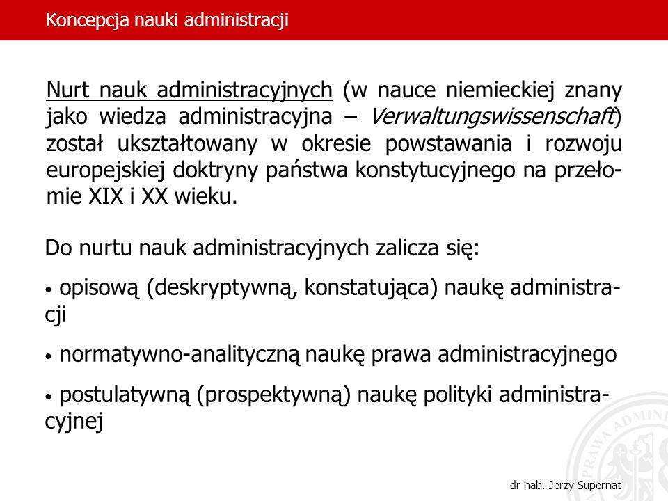 Do nurtu nauk administracyjnych zalicza się: