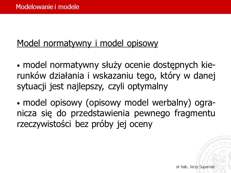 Model normatywny i model opisowy