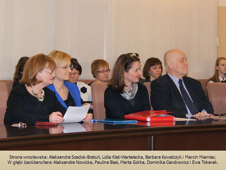 Strona wrocławska: Aleksandra Szadok-Bratuń, Lidia Klat-Wertelecka, Barbara Kowalczyk i Marcin Miemiec.