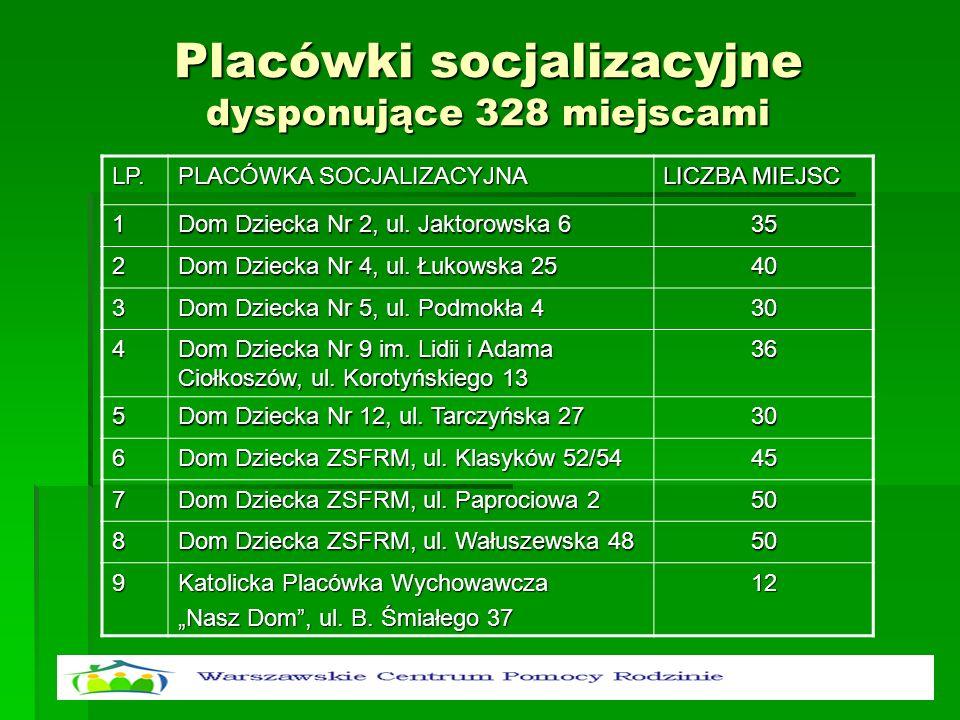Placówki socjalizacyjne dysponujące 328 miejscami