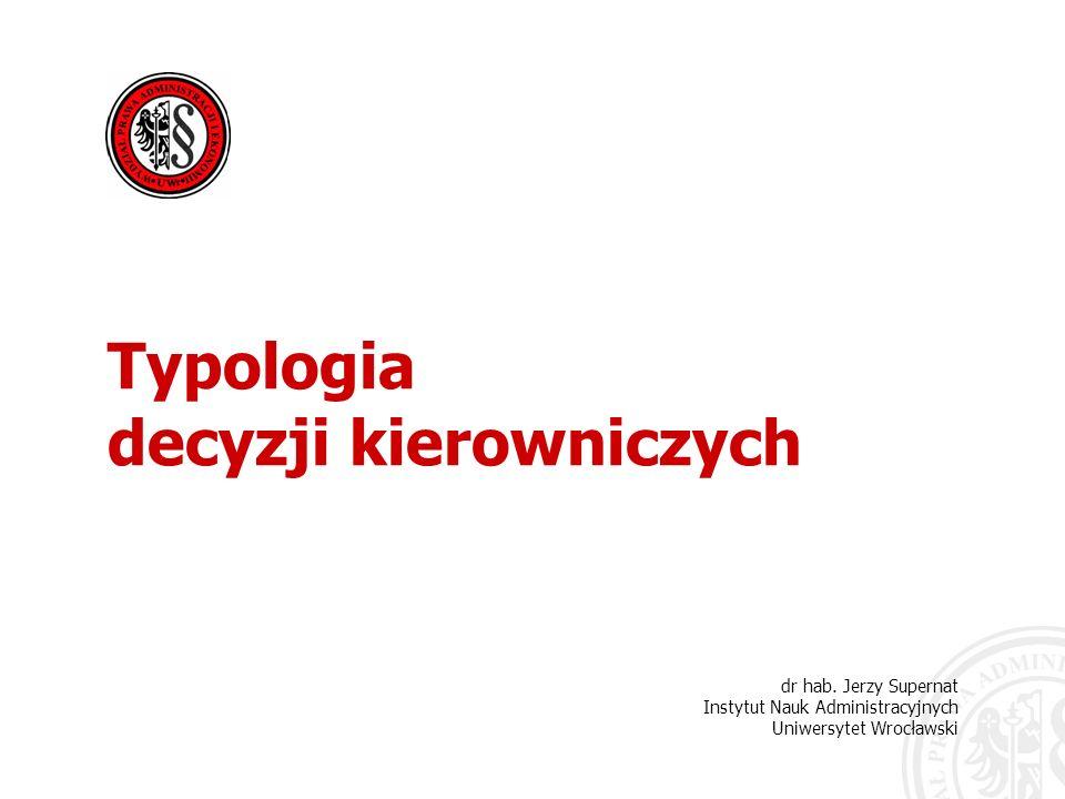 Typologia decyzji kierowniczych