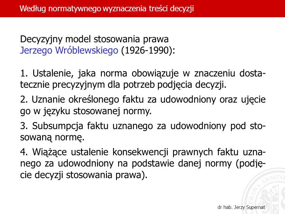 Decyzyjny model stosowania prawa Jerzego Wróblewskiego (1926-1990):