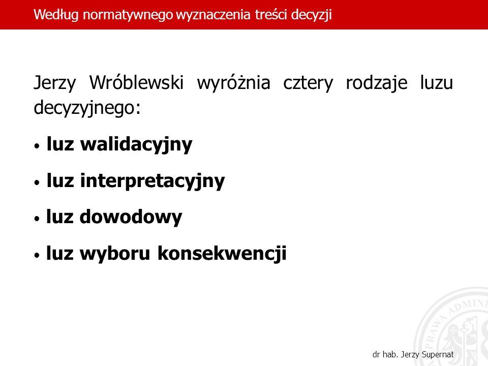 Jerzy Wróblewski wyróżnia cztery rodzaje luzu decyzyjnego: