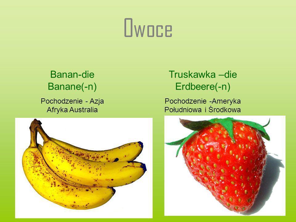 Owoce Banan-die Banane(-n) Truskawka –die Erdbeere(-n)