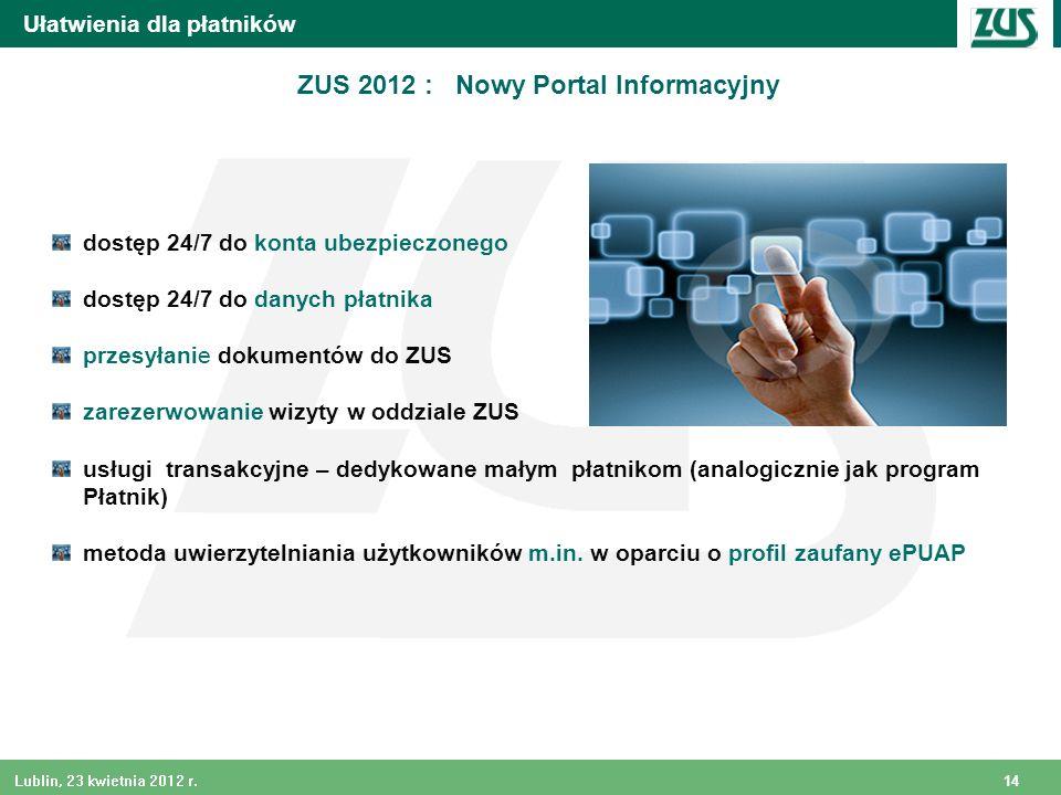 ZUS 2012 : Nowy Portal Informacyjny