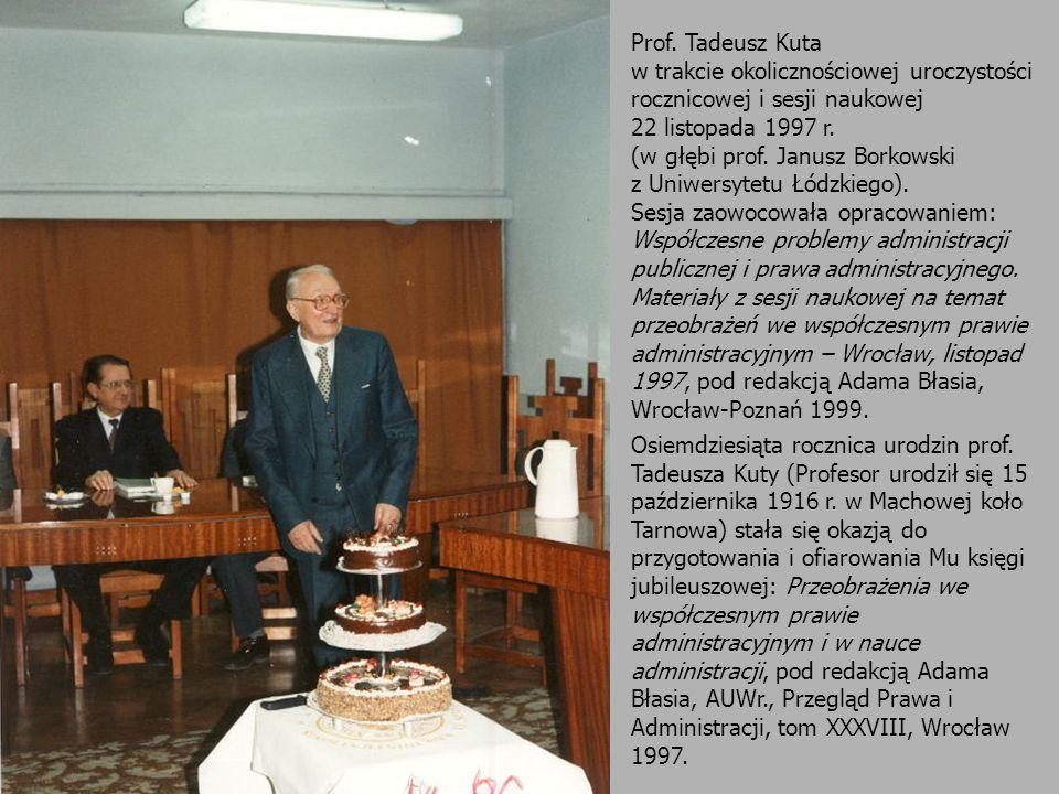 Prof. Tadeusz Kuta w trakcie okolicznościowej uroczystości rocznicowej i sesji naukowej. 22 listopada 1997 r.