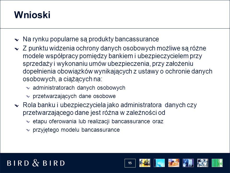 Wnioski Na rynku popularne są produkty bancassurance