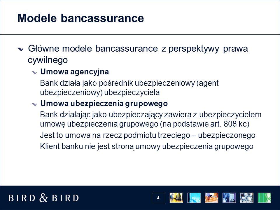 Modele bancassurance Główne modele bancassurance z perspektywy prawa cywilnego. Umowa agencyjna.