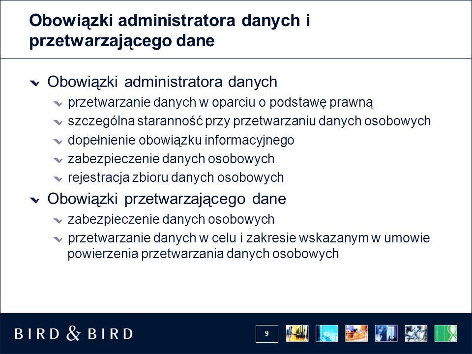Obowiązki administratora danych i przetwarzającego dane