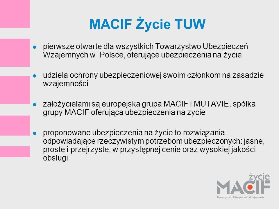 MACIF Życie TUWpierwsze otwarte dla wszystkich Towarzystwo Ubezpieczeń Wzajemnych w Polsce, oferujące ubezpieczenia na życie.