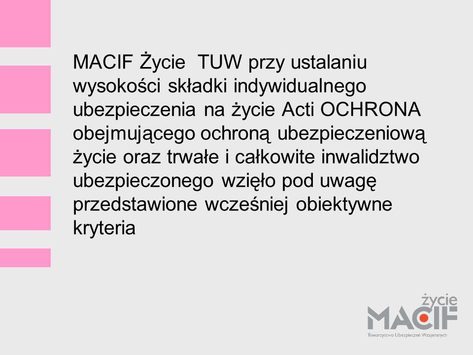 MACIF Życie TUW przy ustalaniu wysokości składki indywidualnego ubezpieczenia na życie Acti OCHRONA obejmującego ochroną ubezpieczeniową życie oraz trwałe i całkowite inwalidztwo ubezpieczonego wzięło pod uwagę przedstawione wcześniej obiektywne kryteria