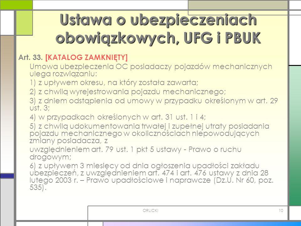 Ustawa o ubezpieczeniach obowiązkowych, UFG i PBUK