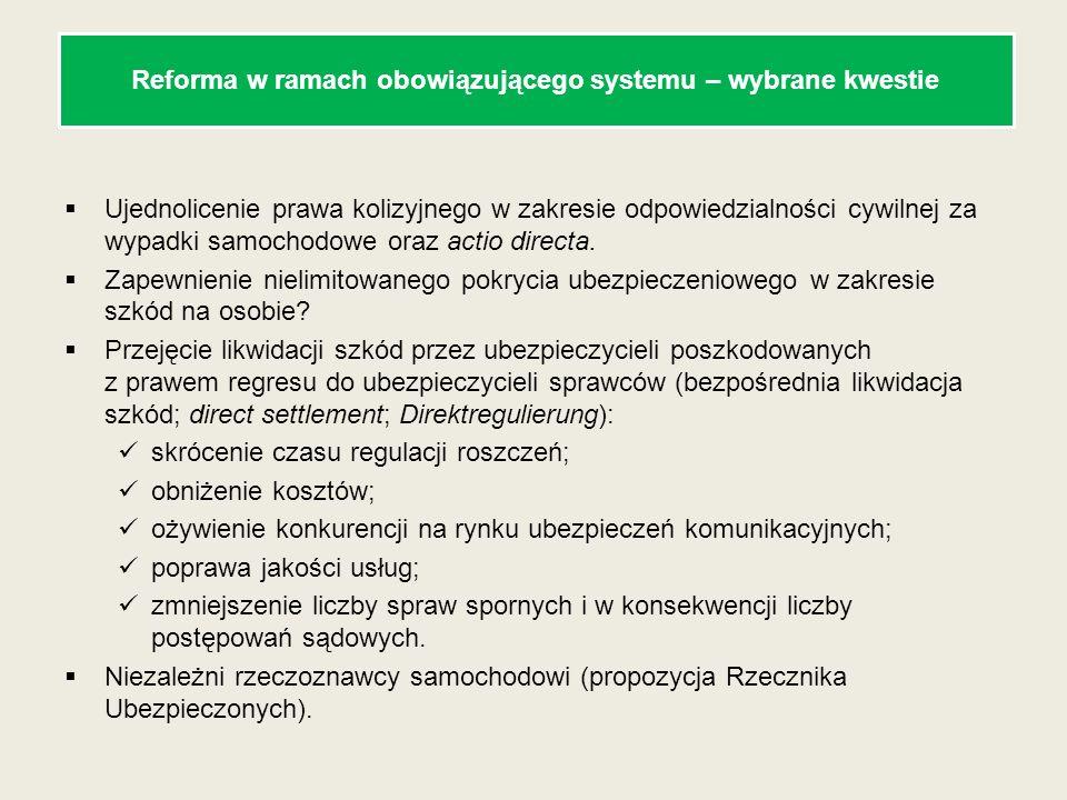 Reforma w ramach obowiązującego systemu – wybrane kwestie