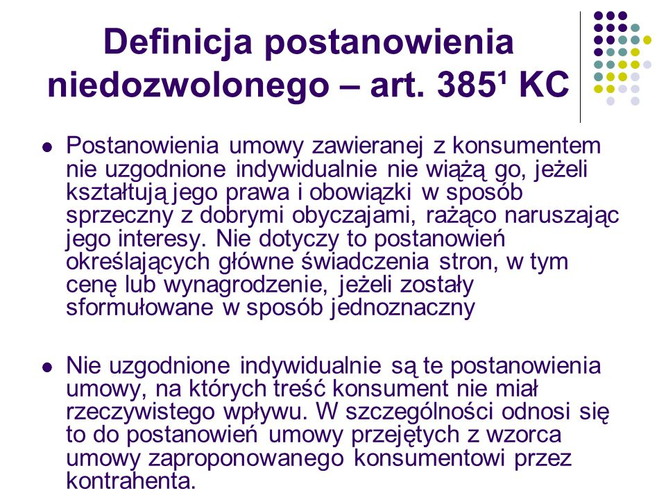 Definicja postanowienia niedozwolonego – art. 385¹ KC