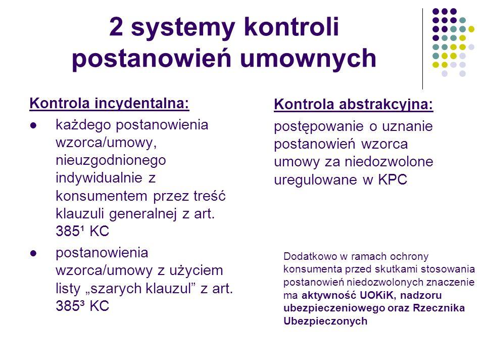 2 systemy kontroli postanowień umownych