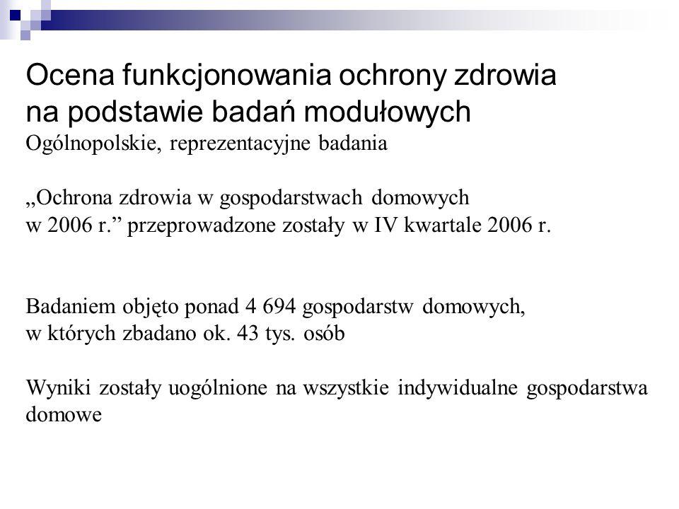 """Ocena funkcjonowania ochrony zdrowia na podstawie badań modułowych Ogólnopolskie, reprezentacyjne badania """"Ochrona zdrowia w gospodarstwach domowych w 2006 r. przeprowadzone zostały w IV kwartale 2006 r."""