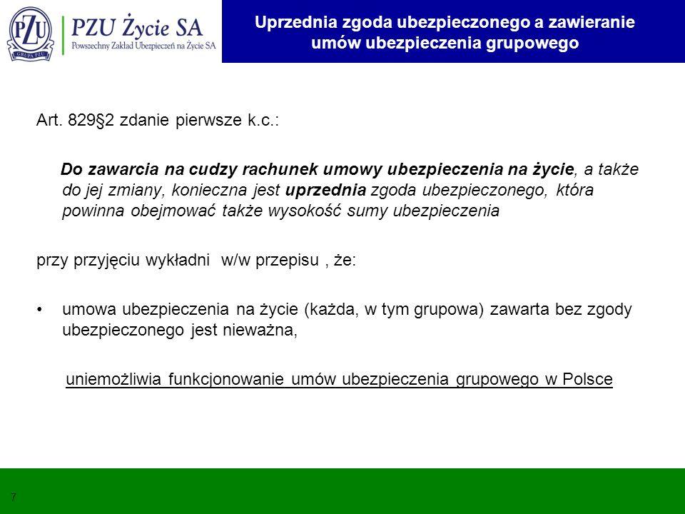 uniemożliwia funkcjonowanie umów ubezpieczenia grupowego w Polsce
