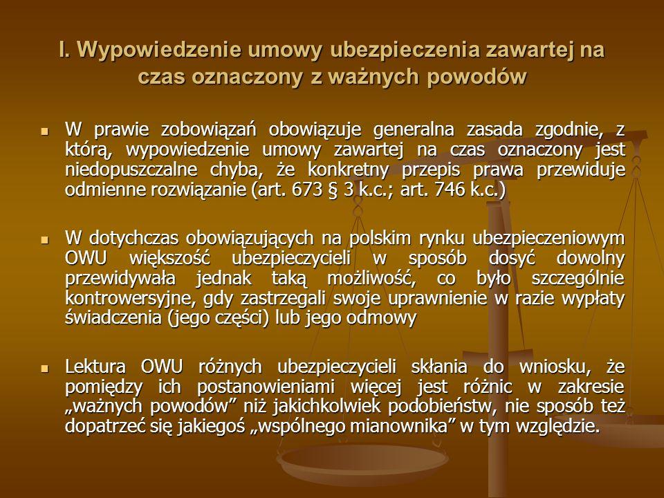 I. Wypowiedzenie umowy ubezpieczenia zawartej na czas oznaczony z ważnych powodów